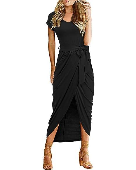 771c1e93a02 VIUVIU Women Casual Short Sleeve O Neck Dress Split Asymmetrical Long  Dresses with Belt Black S