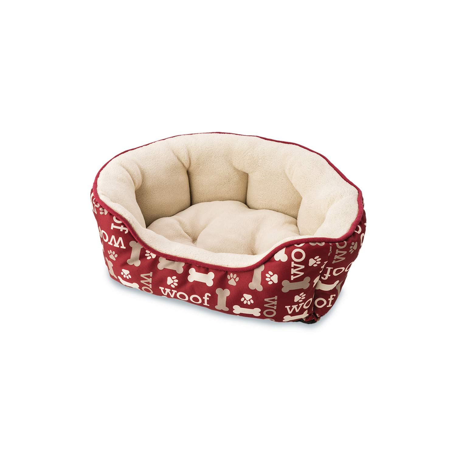 Ethical Pets 31008 Sleepzone Scallop Woof  Step in Dog Bed, 24 , Burgundy