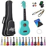 Amdini 21 inch Soprano Ukulele Basswood Acoustic Mini Guitar for Beginner Kid Starter with Case Strap Tuner Picks…
