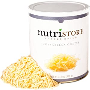Nutristore Freeze-Dried Mozzarella Cheese Shredded | Amazing Taste & Quality | Perfect for Snacking, Backpacking/Camping Meals | Emergency Survival Bulk Food Storage | 25 Year Shelf-Life