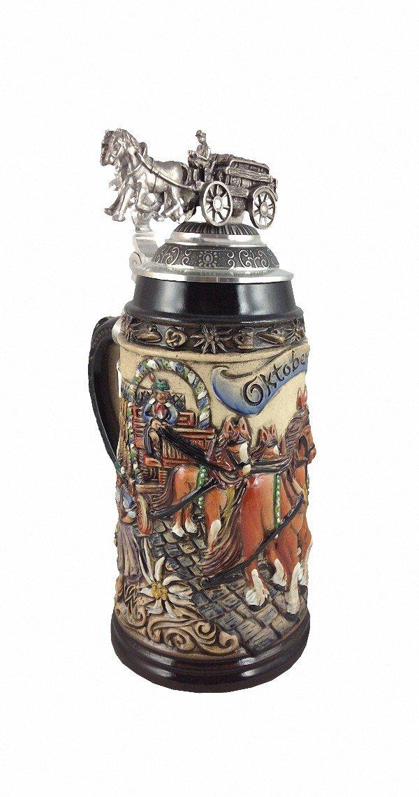 German Beer Stein Beerwaggonlid relief stein 1 liter tankard, beer mug ZO 1915/9013
