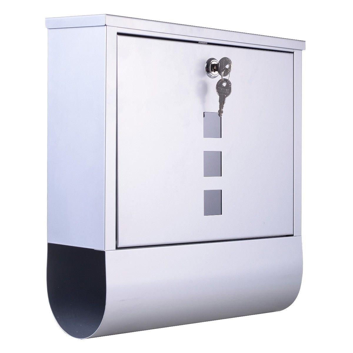 Wall Mount Mail Box Steel With Newspaper Roll w/ Retrieval Door & 2 Key New