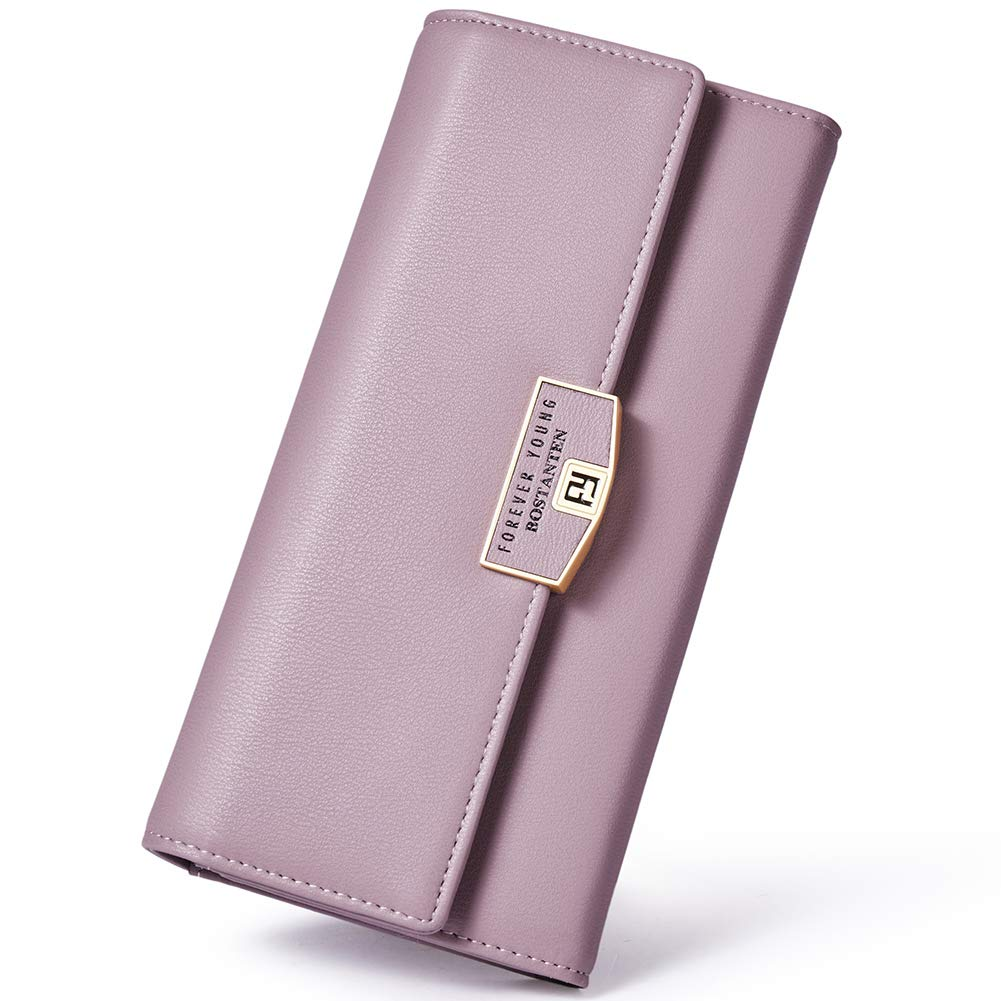 BOSTANTEN Wallet for women Soft Leather Designer Trifold Multi Card Organizer Long Clutch Pink