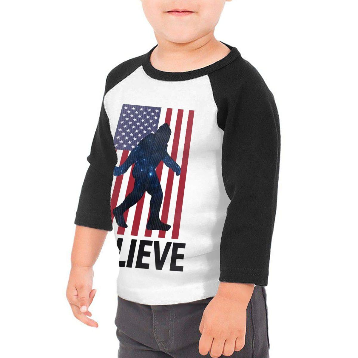 Manlee I Believe Sasquatch Unisex 100/% Cotton Childrens 3//4 Sleeves T-Shirt Top Tees 2T~5//6T