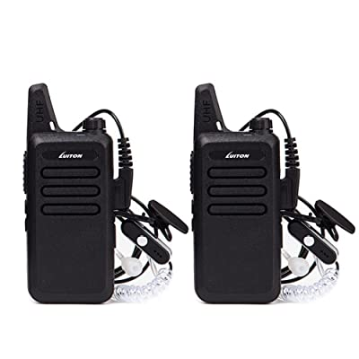 Mini Walkie Talkies with Earpiece Rechargeable 3 Watt for Camping Hiking Playing Outdoor Game by Luiton (Black 2 Packs): Car Electronics