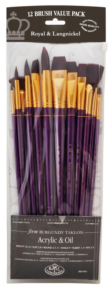 Royal and Langnickel RSET-9314 Long Handle Taklon Variety Brush Set - Firm Burgundy (Pack of 12) Royal Brush Mfg