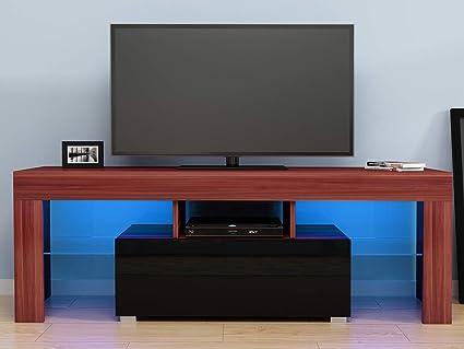 Soporte de TV LED Muebles Modernos para Sala de Estar LED RGB Gabinetes de TV Diseño, 130 x 35 x 45 cm (Largo x Ancho x Alto), Marrón y Negro: Amazon.es: Electrónica