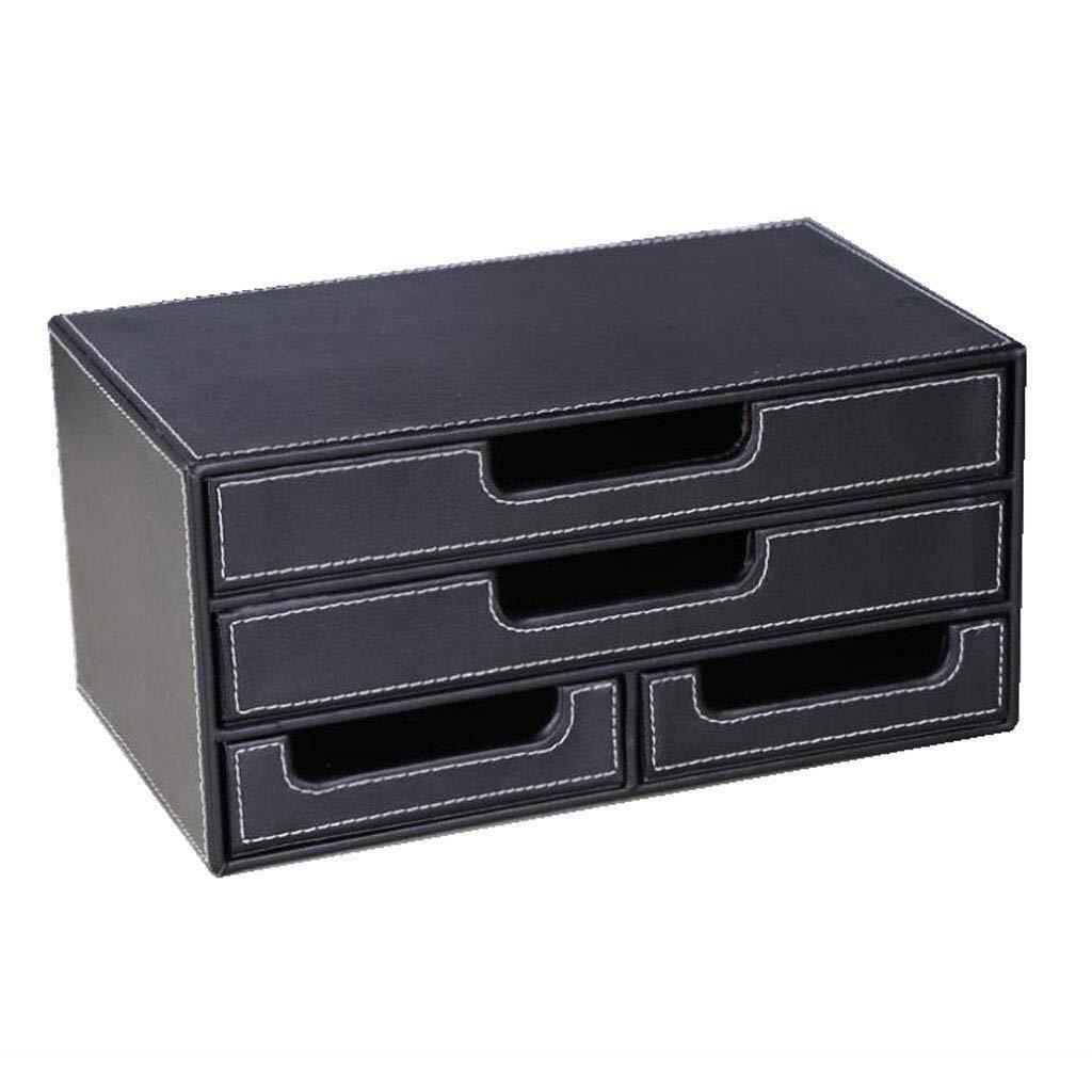 YCYG File Shelf Wooden - File Holder Racks, File Organi Desk Organiser, Multifunctional Office PU Leather Desk Organiser Tidy Desktop Stationery Storage Box by YCYG