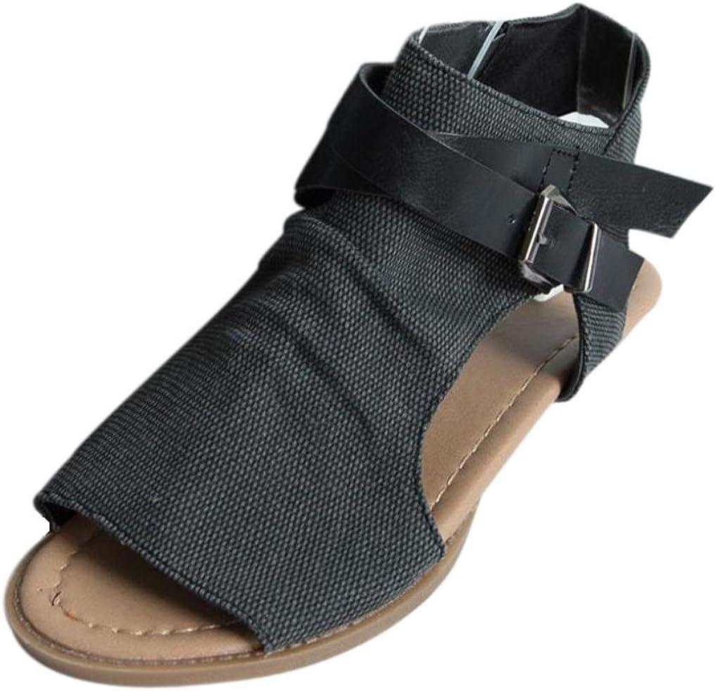 OHQ Zapatos para Mujeres Sandalias Planas De Boca De Pescado De Mujer Café Beige Negro Sandalias Planas TalóN La Correa del Tobillo SóLido Sandalias Romanas Cómodo Y Elegante