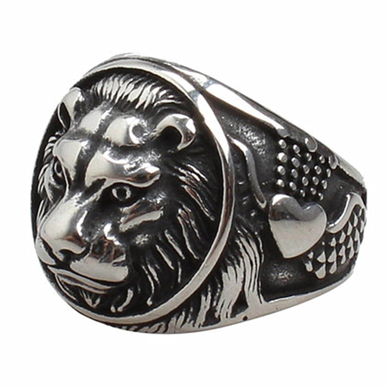 JAJAFOOK Men's Lion Head Stainless Steel Retro Punk Rings Gothic Black Wedding Rings