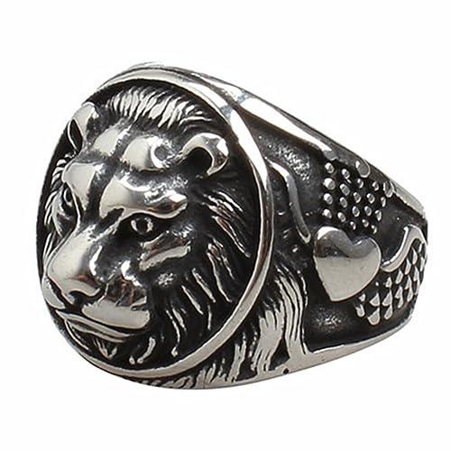 jajafook Hombres de cabeza de león retro de acero inoxidable anillos punk gótico negro anillos de