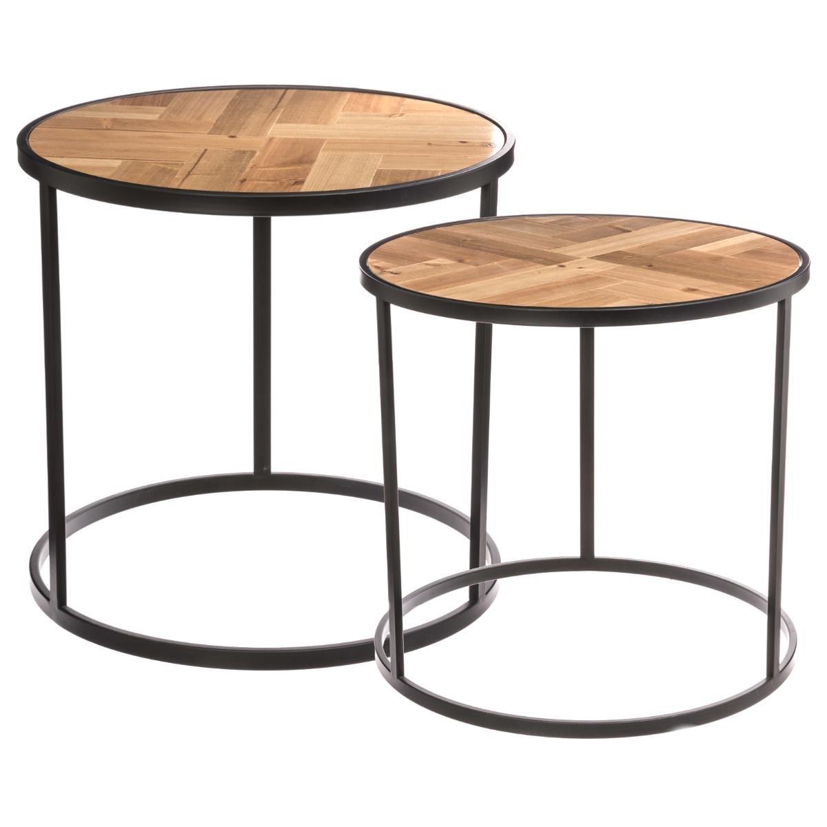Lot de 2 tables gigognes de salon - Style Vintage Atelier Industriel - Coloris BOIS et NOIR