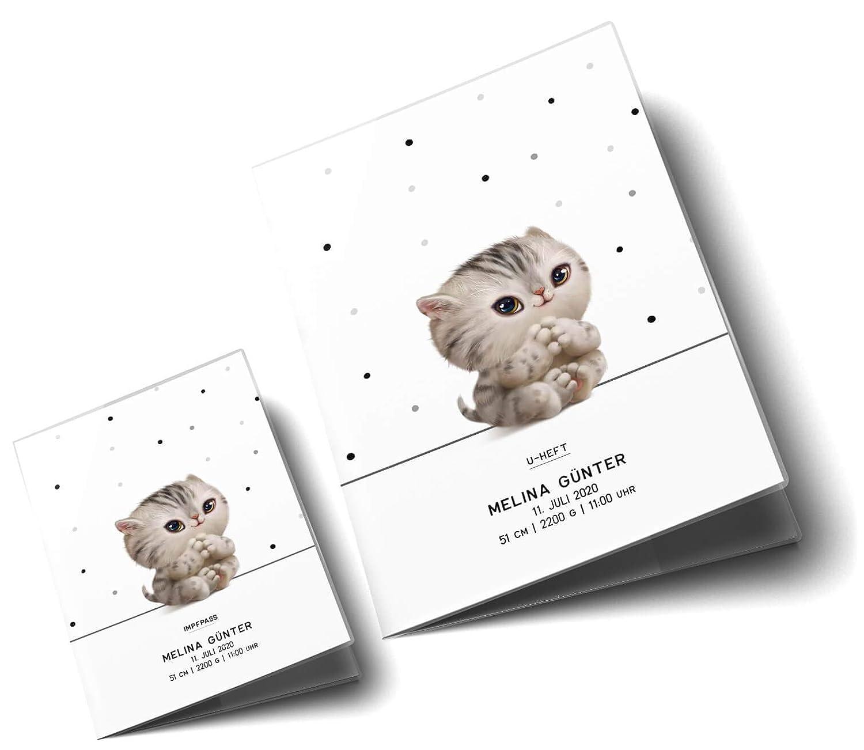 U-Heft H/ülle SET Haustiere Untersuchungsheft H/ülle /& Impfpassh/ülle Geschenkidee personalisierbar mit Namen und Geburtsdatum U-Heft Set 3-teilig, Cat