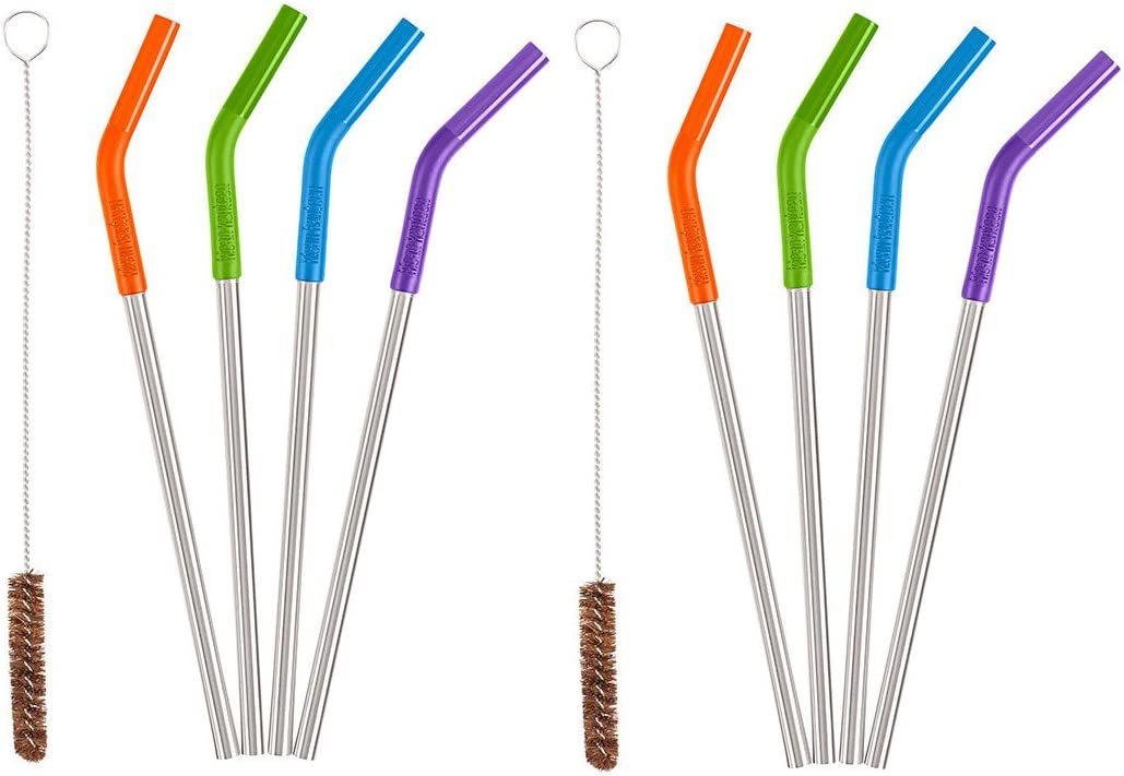 Klean Kanteen 5 Piece Stainless Steel Straw Set (Multi Color) - 8 Straws + 2 Brushes