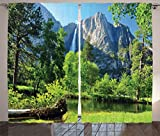 Ambesonne Apartment Decor Collection, Upper Yosemite Falls Cliff Yosemite National Park California Panoramic Picture, Living Room Bedroom Curtain 2 Panels Set, 108 X 90 Inches, Green Olive For Sale