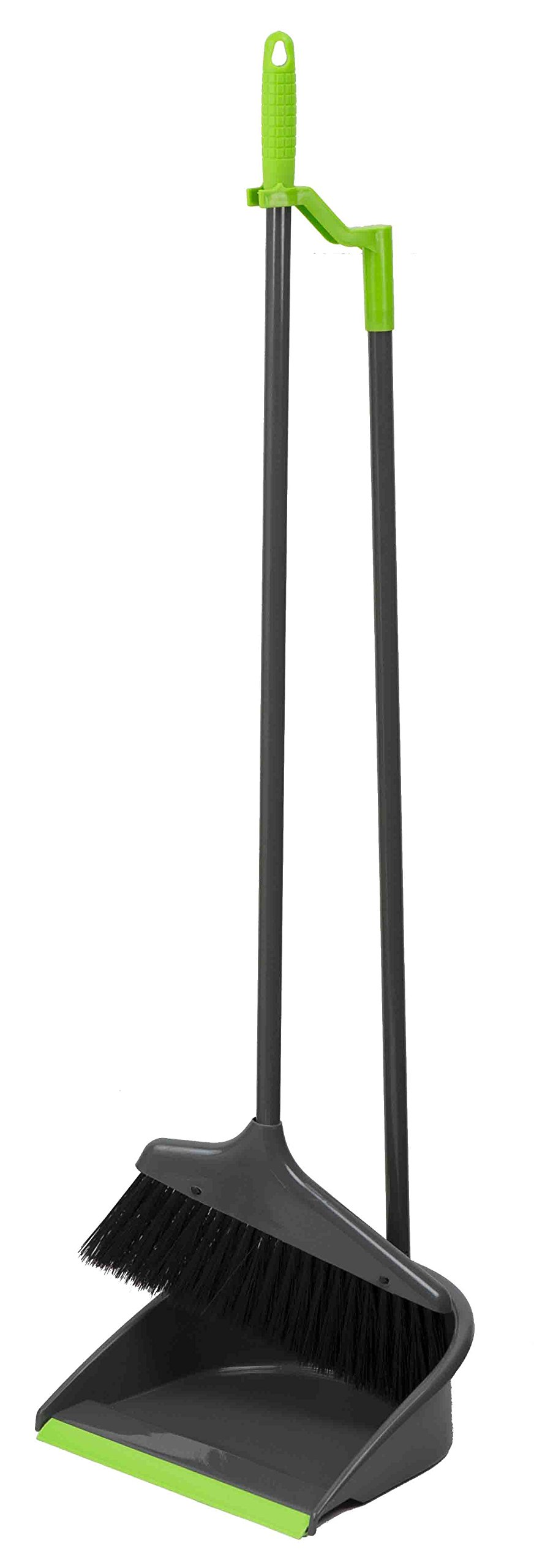 Home Basics Brilliant Collection Long Handled Broom, Grey (Broom & Dustpan Set)