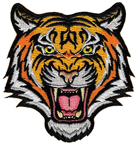 Tiger Patch Embroidered Iron-On Applique Roaring Bengal Striped Souvenir