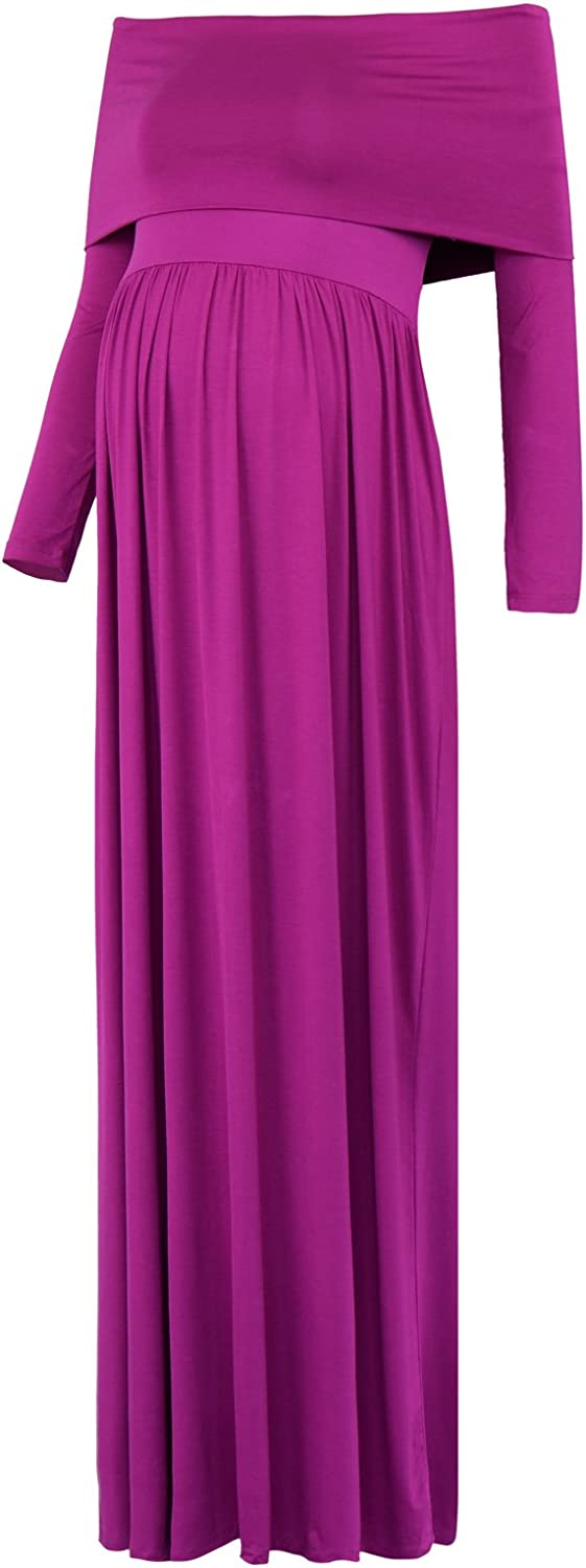 Black Cherry Womens Cowl Neck Ruched Shoulder Maternity Nursing Maxi Dress