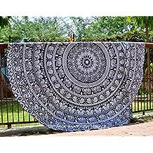 Handicrunch Elephant Mandala Round Roundie Beach Throw Indian Tapestry Hippie Yoga Mat Decor