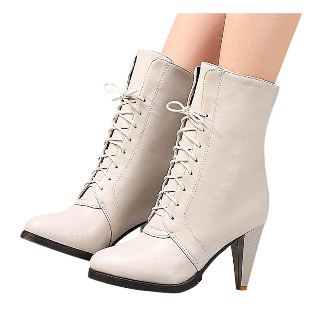 Frunalte Women's Western Fringe Chunky Stacked Heel Ankle Bootie Fashion Ankle Solid Casual Short Boots Beige by Frunalte Women Shoes