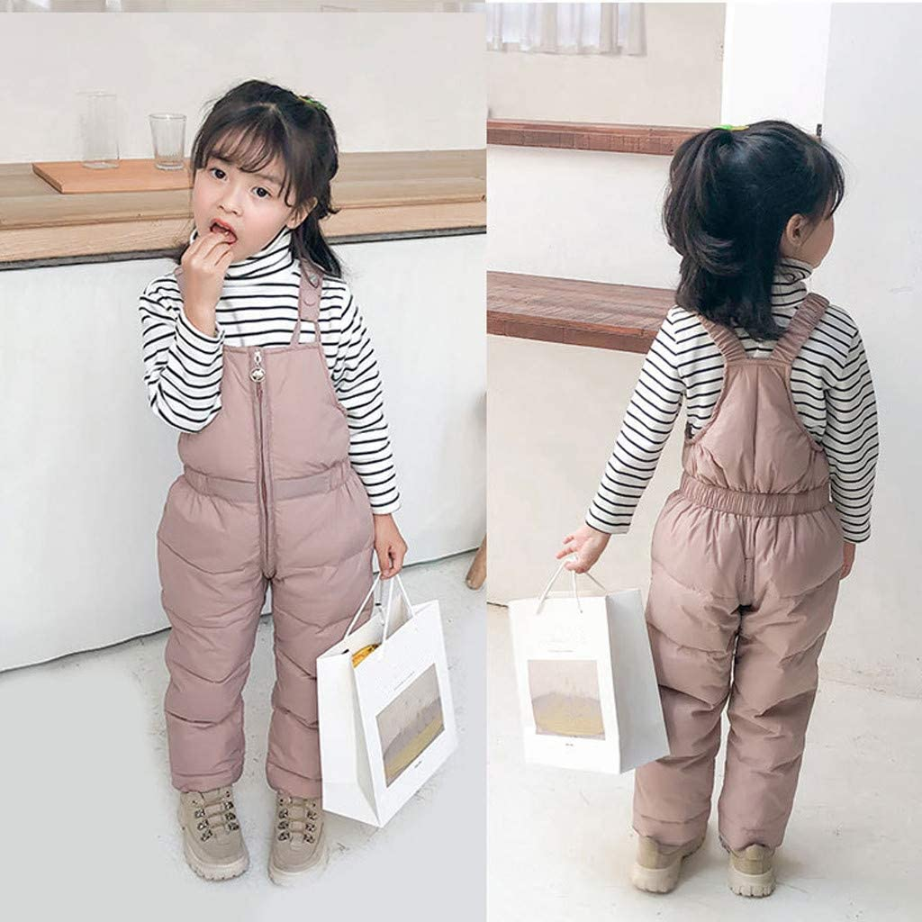 Down Trousers Jumpsuit Solid Color Winter Trousers Clothes Childrens Overall Shan-S Toddler Kids Baby Boys Girls Warm Pants