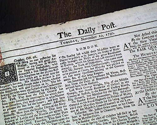 (Rare BRITISH 18th Century 1730 Old London England Newspaper w/Red Tax Stamp THE DAILY POST, London, Nov. 10, 1730)