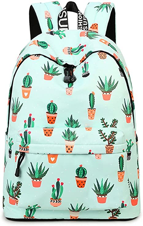 Inwagui Grand Sac d Ecole College Primaire Fille Ado Sac Dos en Polyester Backpack Cartable pour Voyages, Scolaire, Loisirs Cactus