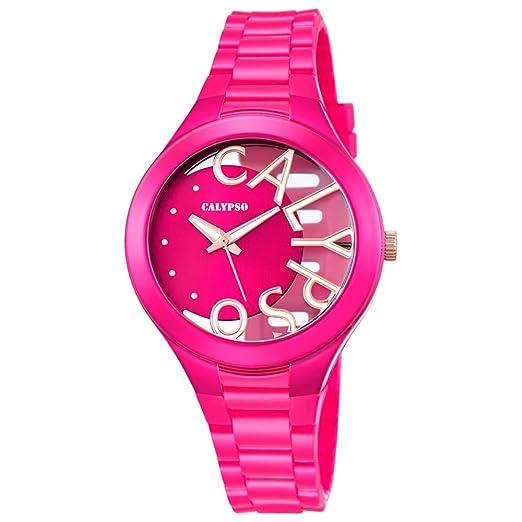 Calypso mujer-reloj Fashion PU-pulsera analógico Cuarzo-reloj esfera colour rosa Rosa UK5678/5: Calypso: Amazon.es: Relojes