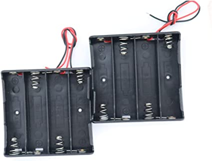18650 Battery Case Holder with Lead Wire Bundle,4 Pcs DIY Battery Storage Boxes 2 Slots in Parallel Black Plastic Batteries Case with Pin 18650 Charging 2 Bay Cell Battery Holder