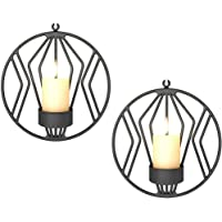 Sziqiqi Wall Candle Sconce for Small Pillar Candle, Metal Tealight Holders Wall Decorations for Bathroom Patio Living Room Decoration Black Set of 2