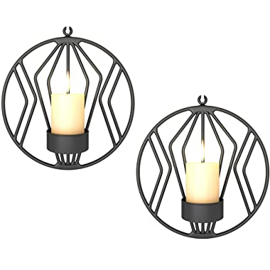 Sziqiqi Set of 2 Wall Pillar Candle Sconce, Metal Tealight Holders Wall Decorations for Living Room Bedroom, Ideal Gift for Wedding Bedroom Decor (Black × 2)