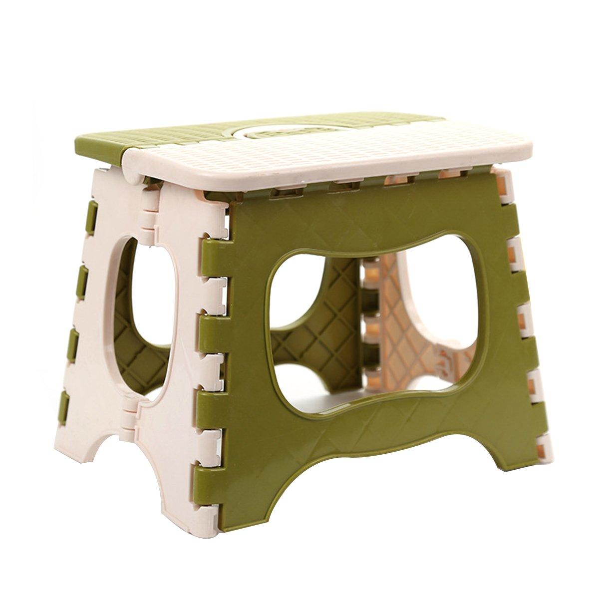 OUNONA sgabello pieghevole in plastica per bambini casa bagno cucina salotto da giardino –  Taglia Large (verde)