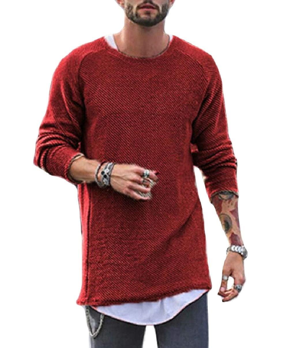 ZXFHZS Men Fashion Raglan Sleeve Slim Fit Knitting Round Neck Pullover Sweaters