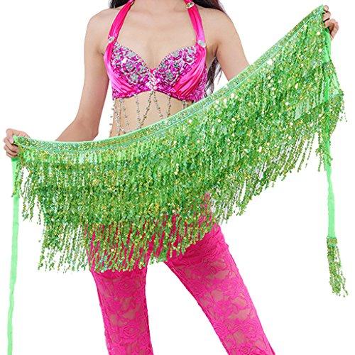 Wuchieal Belly Dance Skirt Hip Scarf Hot dance hip Belt skirt Latin dance Hula hip scarf (Light Green)