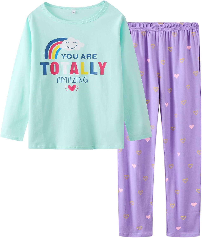 Big Girls Pajamas Set Cut Cat and Bear Printed Short Sleeve Summer Sleepwear Loungewear Size 12 14 16
