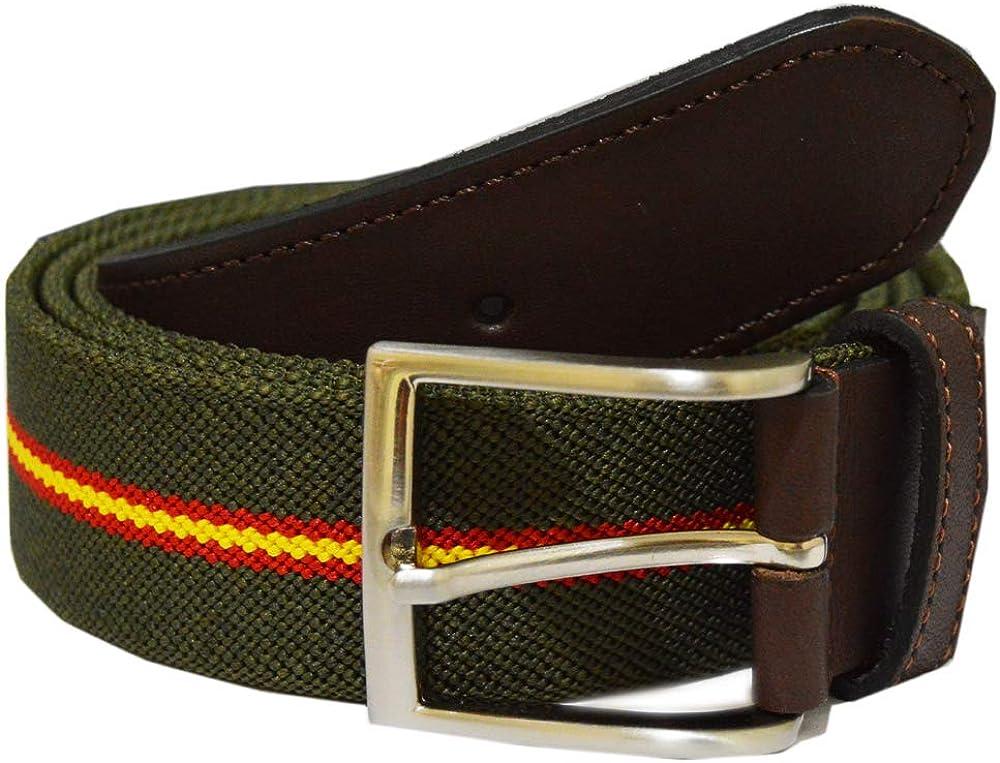 ALBERO Cinturón elástico con piel color verde. Fabricado en España. Caza, Guardia civil. Bandera de España.: Amazon.es: Ropa y accesorios