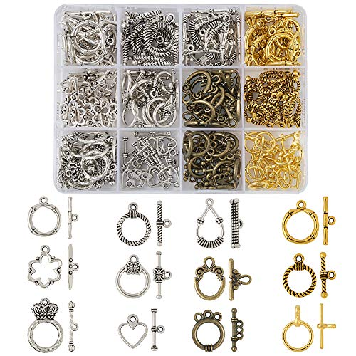 Beadthoven 120 Set 11 Style Tibetan Style Antique Silver Bronze Golden Toggle Clasps TBar Connectors for Necklace Jewelry Making Findings
