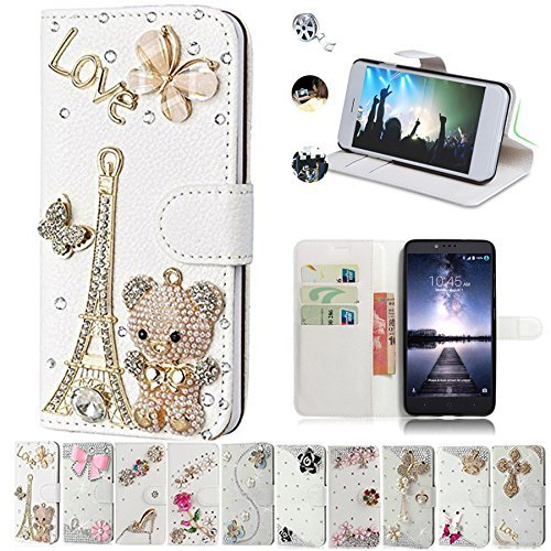 ZTE Zmax Pro Case, ZTE Carry Cases, AMASELL Glitter Bling Diamonds [Stand View] PU Leather Flip & Card Slots Holder Folio Wallet Cases for ZTE Zmax Pro / Carry Z981 Cover, bears tower (Zte Zmax Phone Case Wallet Bling)