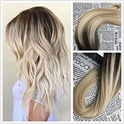 Moresoo 16inch Tape in Blonde Human Hair Extensions Color #2 Brown Fading to Blonde #27 Mixed #613 Skin Weft Invisible Hair Extensions 20pcs 50g Per Pack