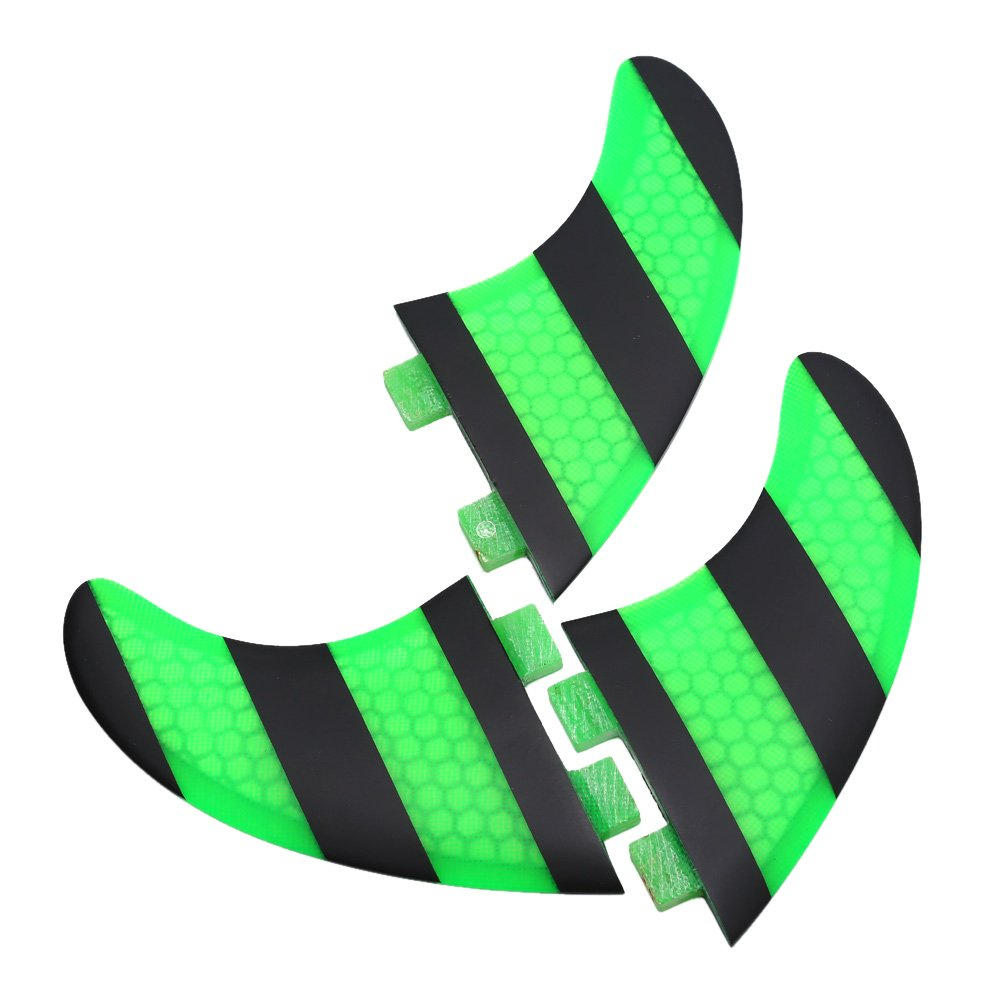 Surf Fins,Asixx Green + Black FCS G5 Surf Fins Surfboard Thruster (3-fin) Configuration,Comb Design Makes The Fins Lightweight and Responsive
