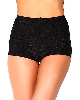 Amazon.com: iHeartRaves High Waisted Casual Dance Shorts, Shiny ...