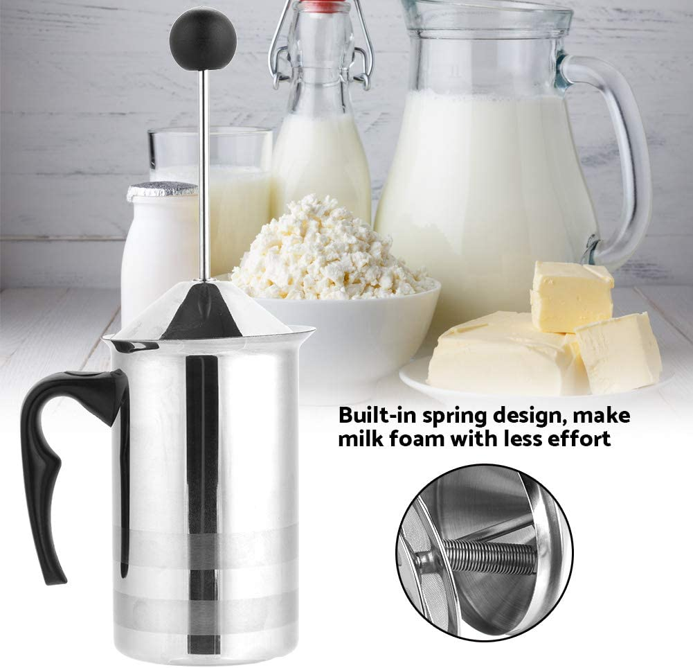 Espumador de leche de doble malla 400ml 400ml//800ml de Acero Inoxidable Batidoras Espumadoras de Leche Manuales