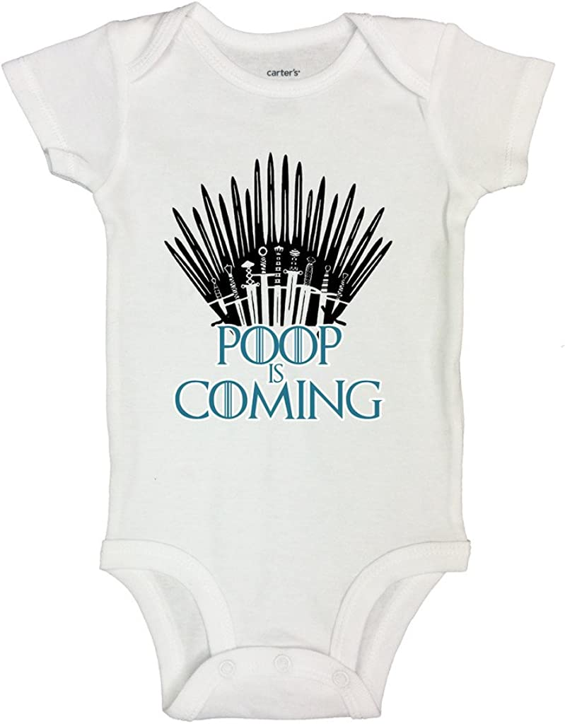 Little Royaltee Shirts Cute Movie Lover Bodysuit Poop is Coming 3-6 Months, White