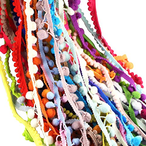 12yards/lot(1yard/pc) 10-15mm Mixed Colors Pom Pom Trim Ball Fringe Ribbon Lace