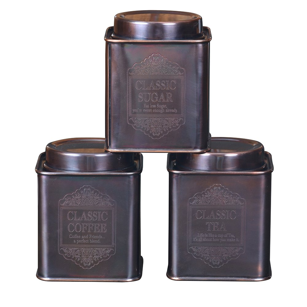 Kosma Set of 3Pc Stainless Steel Tea Sugar Coffee Canister (Square)-Classic 4'' (Copper Antique) by Kosma (Image #2)