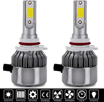 LSAILON 2Pcs 880 LED Headlight Bulbs 9600Lm 6000K 2 Sides Hi//Lo Beam Lights 360 Degree