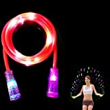 Babyrise Light Up LED Jump Rope Colorful Glow Skipping Rope Fun Light Toy for Kids Adults (Red)