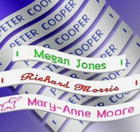 50 Iron on Waterproof Clothes Identity Personalised Name School Labels Tapes