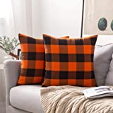 MIULEE Pack of 2 Buffalo Check Retro Checker Plaids Accent Fall Throw Pillow Covers Cotton Linen Cushion Case for Sofa…