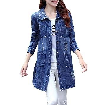 AOJIAN Women Jacket Long Sleeve Outwear Retro Denim Pocket Button Casual Jeans Coat